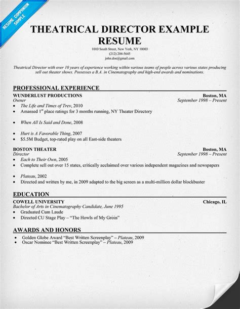 Sle Theatre Resume by Theater Resume Exle 28 Images How To Write Cover