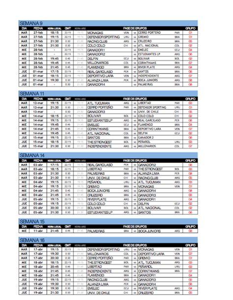 Calendario Copa Libertadores Calendario Fechas Y Partidos De La Copa Libertadores 2018