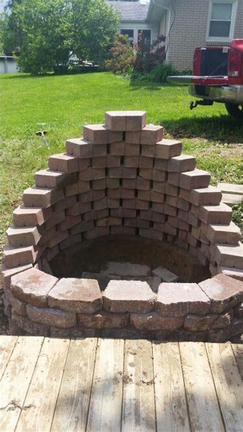 build  fire pit  cement landscape blocks diy