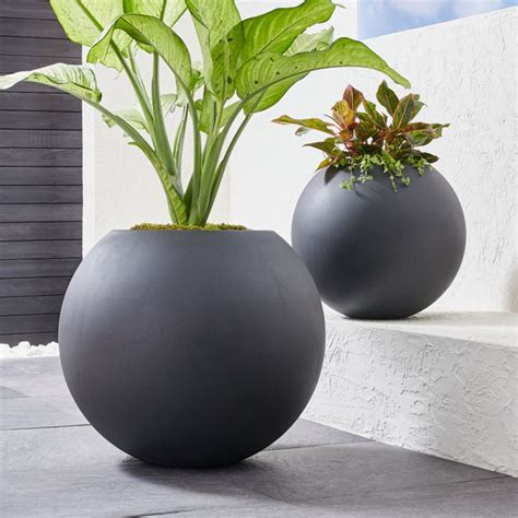 sphere dark gray planters crate  barrel canada