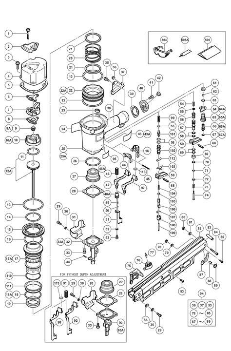 hitachi nail gun parts diagram hitachi nr83a2 y parts list hitachi nr83a2 y repair