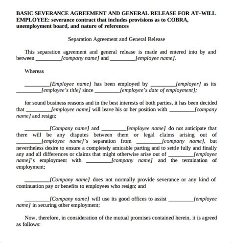 severance agreement template sle severance agreement 7 documents in pdf word