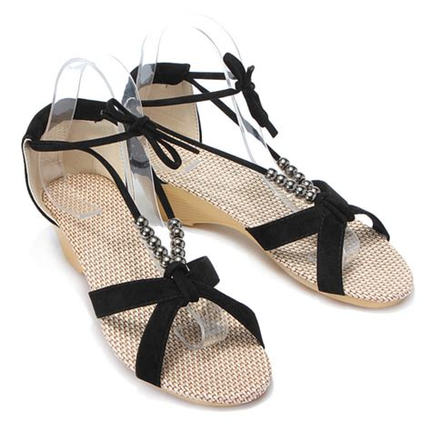Beaded Wedge Shoes beaded lacing gladiator wedges shoes alexnld
