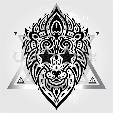 tribal pattern header lions head tribal pattern polynesian tattoo style vector