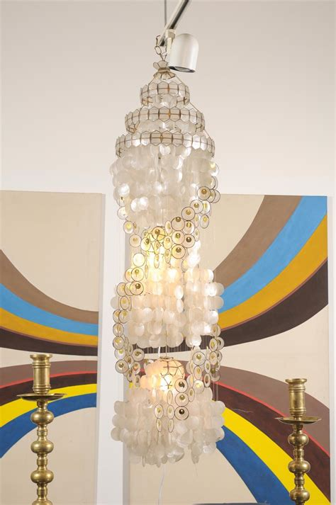 Gold Capiz Chandelier Vintage Capiz Shell Chandelier With Gold Accents At 1stdibs
