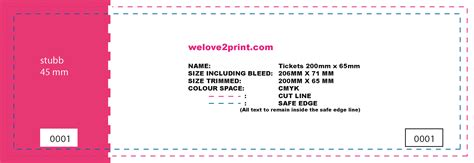 ticket size template ticket printing event printing secure ticket printing