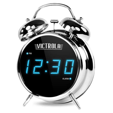 victrola classic chrome twin bell alarm clock  digital display victrolacom