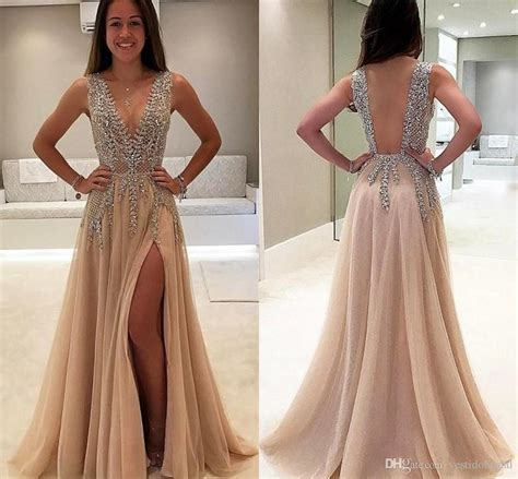 B Berry Hitam Dress luxury beaded side split prom dresses 2018 v neck see