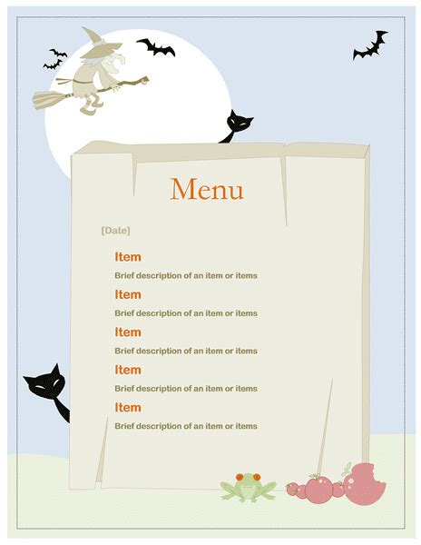 Free Word Templates Halloween Party Menu Template Birthday Menu Template