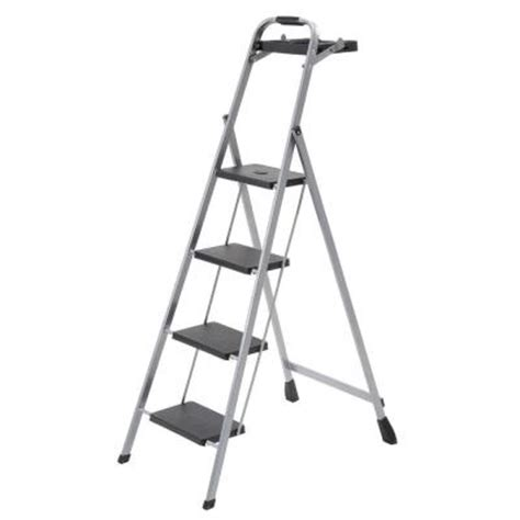 4 Step Step Stool 4 step steel mini step stool ladder with project tray hsp 4tg the home depot