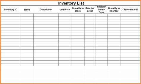 inventory for rental property template template inventory list template business templates