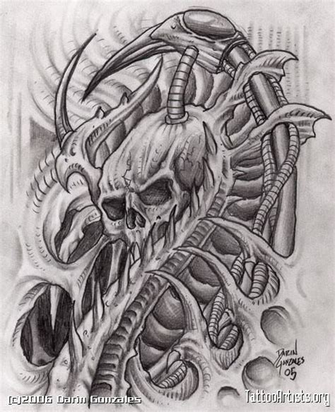 biomechanical skull tattoo drawings tattooic