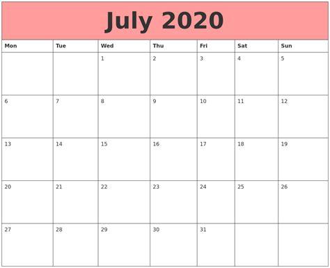 Calendar That Work July 2020 Calendars That Work