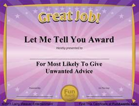 Joke Certificate Templates by Award Certificates 101 Certificates To Give