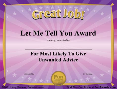 joke certificate templates award certificates 101 certificates to give