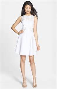 Trends For Summer Eyelet Accents When You Just Cant Commit Second Cty Style Fashion Second City Style 4 by Aline Fit Flare Dress In White