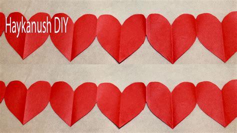 como hacer cadenas de corazones con papel crepe como hacer un corazon de papel facil paso a paso youtube