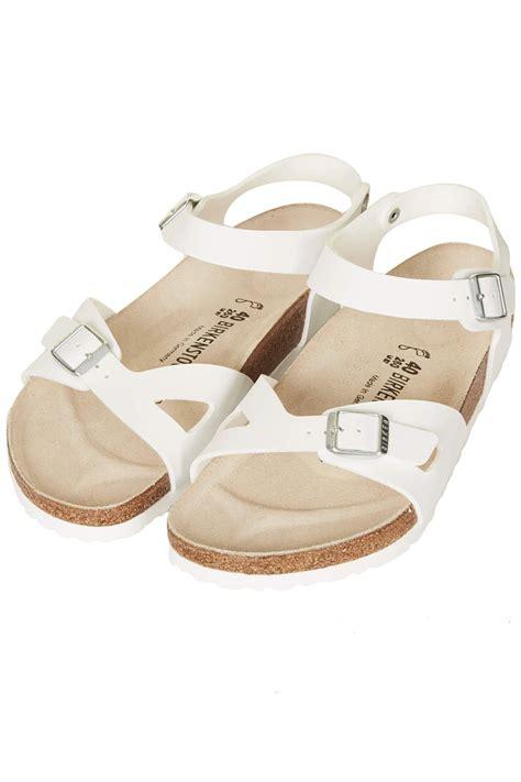 birkenstock white sandals topshop birkenstock sandals in white lyst