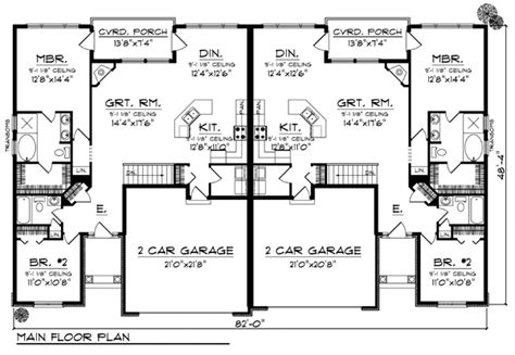 duplex plans with garage duplex plan chp 33733 at coolhouseplans com retirement
