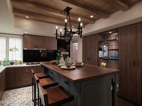 American country style open kitchen bar Decoration