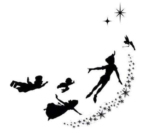 peter pan silhouette tattoo pan flying silhouette www imgkid the