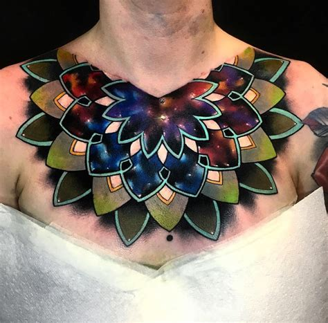 mandala space s chest piece best tattoo design ideas
