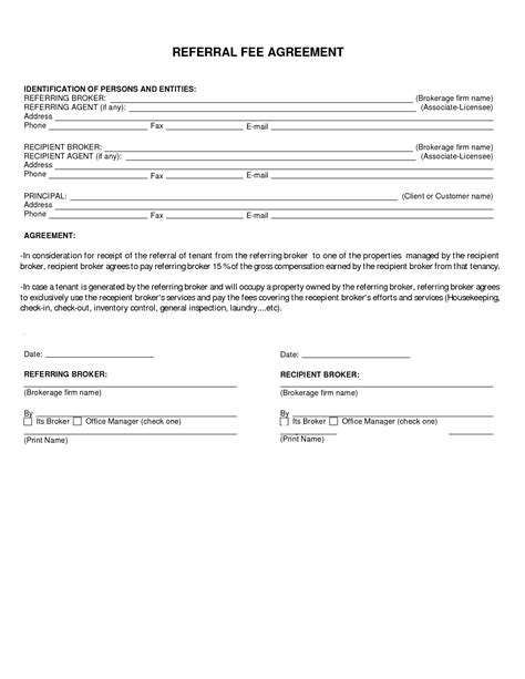 referral agreement template 10 best images of fee agreement template finders