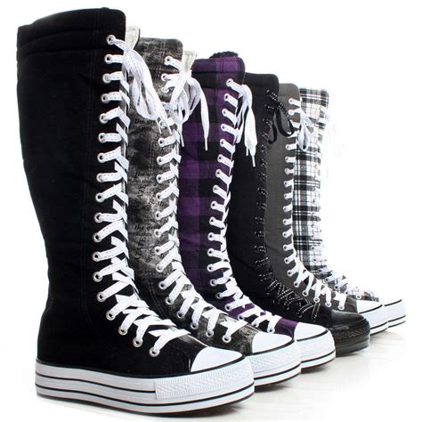 pattern lace up knee high sneaker boots canvas platform sneakers ladies punk womens skate shoes