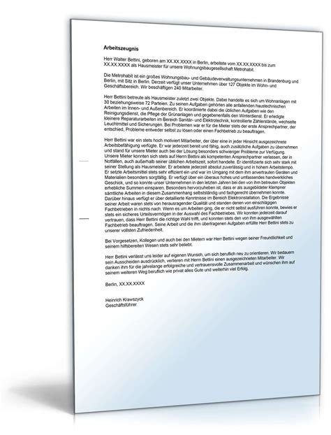 Bewerbung Zum Hausmeister Muster Arbeitszeugnis Hausmeister Note Eins Vorlage Zum