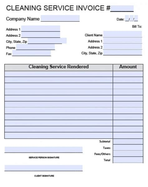 Service Template Excel by House Cleaning Invoice Template Hardhost Info