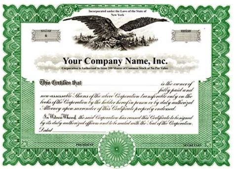 Custom Printed Certificates Corporation Blumberg Corporation Stock Certificates Attorneys Corporation Service Stock Certificate Template