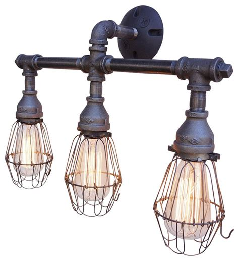 axel 3 light vanity fixture with wire cages industrial