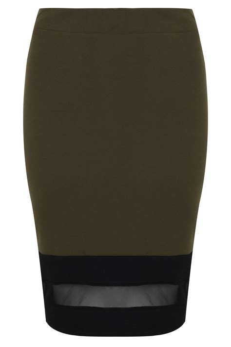 khaki pull on pencil skirt with mesh panel plus size 14 to 32