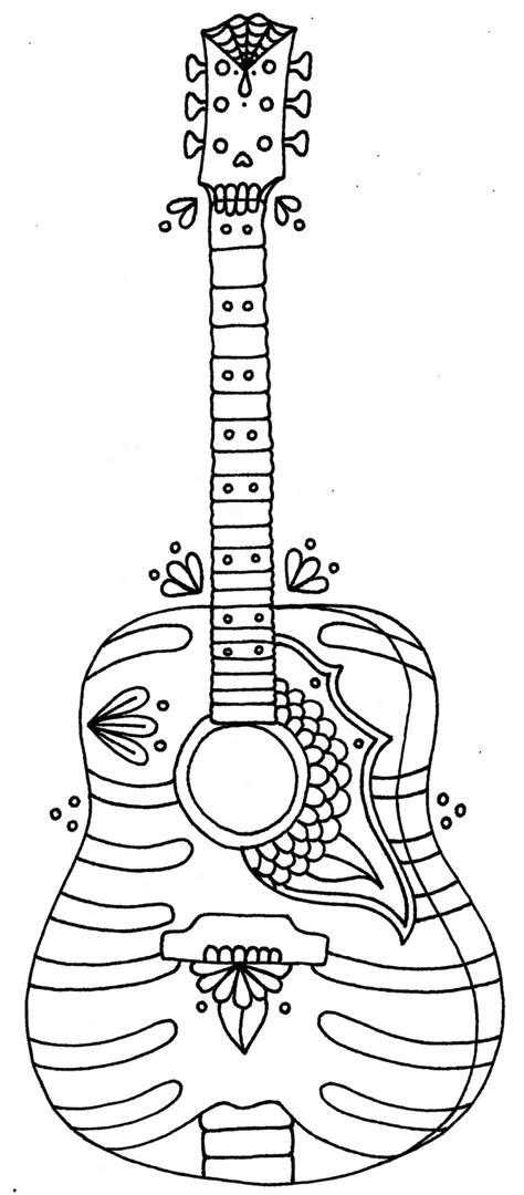 printable coloring pages guitar free children with guitar coloring pages
