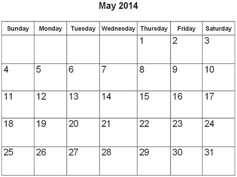 2014 May Calendar Lake Elementary School