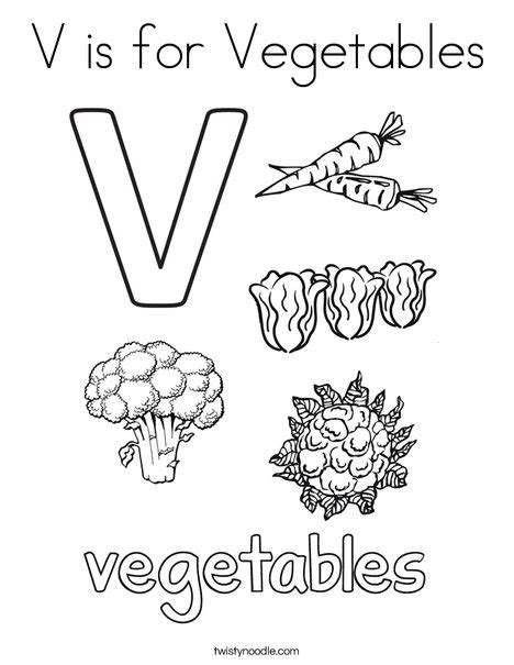 v fruits and vegetables v is for vegetables coloring page twisty noodle
