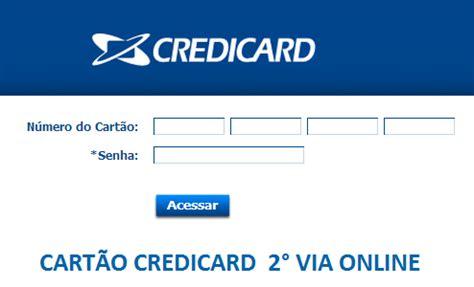 cartÃo credicard – extrato e 2° via online