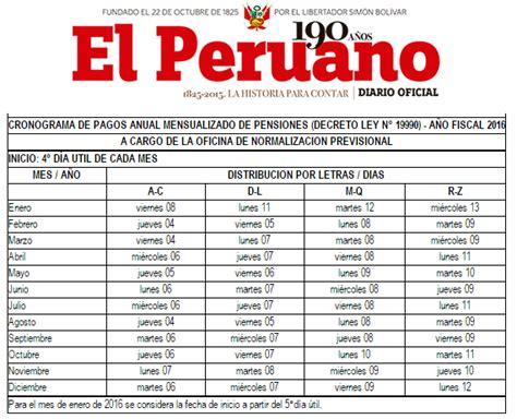 cronograma de pago rus 2016 somos jubilados peruanos cronograma de pago anual