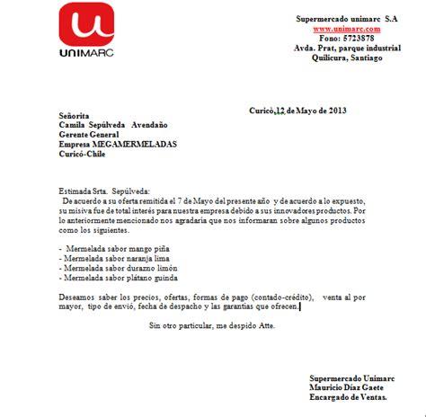 carta de oferta de nuestros productos aprendiendo a redactar con camila compra venta