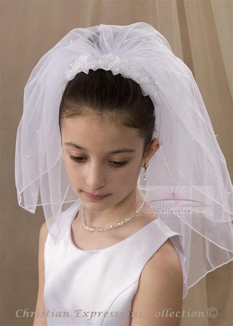 communion hairstyles with headband veil communion veils flower comb with communion veil first