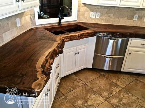 Wooden Kitchen Countertops Branch Farms Rustic Real Wood Countertop I Want Kitchen Ideas Real