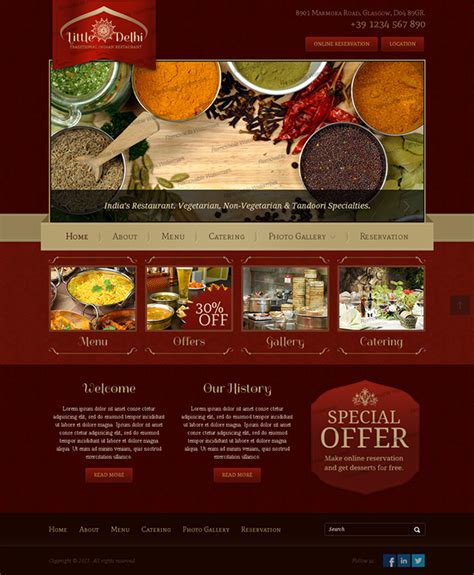 templates for restaurant website little delhi indian restaurant bootstrap html template on