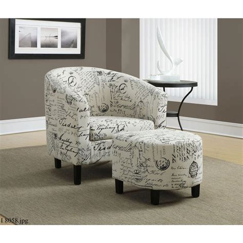 White Chair With Ottoman Monarch Specialties White Arm Chair With Ottoman I 8058 The Home Depot