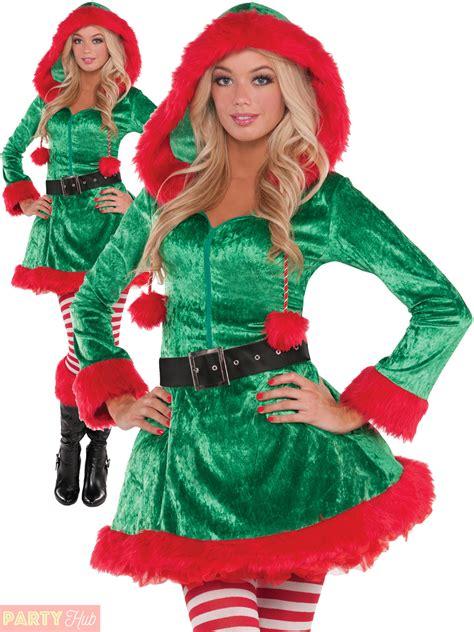 ladies sexy elf costume adults christmas mrs santa claus