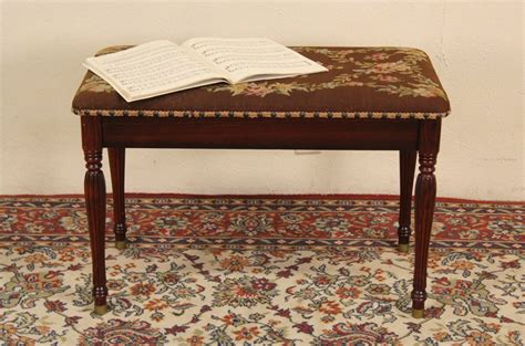 vintage piano bench sold piano bench 1940 s vintage needlepoint upholstery