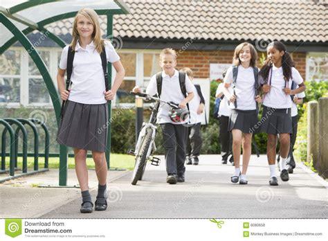 Royalty Free School Children Stock by Junior School Children Leaving School Royalty Free Stock