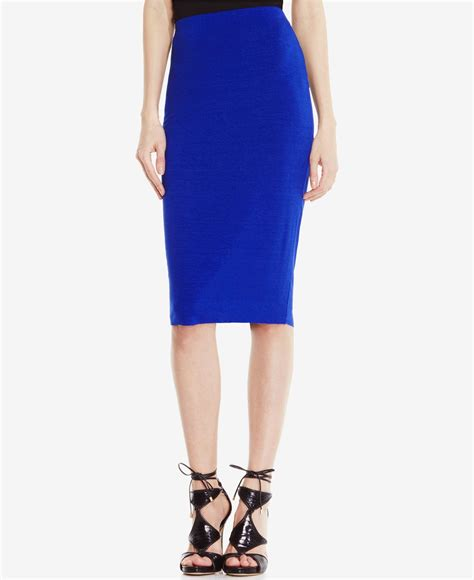 vince camuto stretch knit pencil skirt in blue casbah