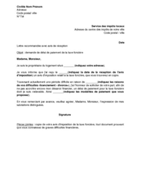 Exemple De Lettre Demande De Paiement Modele Lettre Impots Delai De Paiement