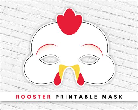 printable chick mask template chicken printable mask rooster printable mask lunar new etsy