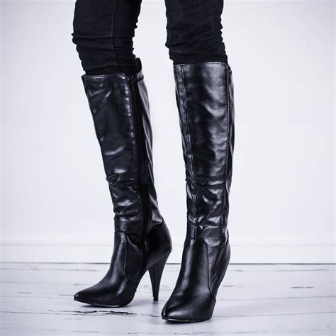 black high heel boots leather buy pear stiletto heel stretch knee high boots black